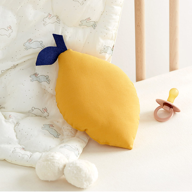 The Butter Flying - Small yellow lemon cushion